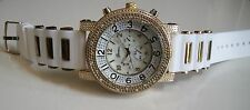 Men's Iced Out Gold Finish Hip Hop White  Rubber Silicon Band Fashion Watch