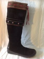 Pons Quintana Black Knee High Suede Boots Size 38