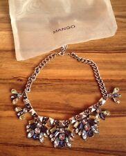 MANGO Statement Necklage Halskette Silber Collier Blau/Gelb/Weiss NEW 2015