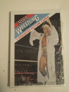 1988 Wonderama NWA Wrestling Super Cards Unopened cello pack 7 cards Ric Flair