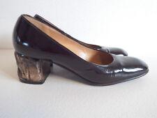 Escarpins Vintage Talon à facette 70's en cuir verni marron Gaudin Paris