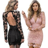 Women's Sexy Long Sleeve Floral Lace Backless Mini Dress Party Bodycon Clubwear