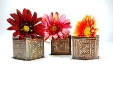 3 Pc Square Bronze Planters Decor Weddings Shower Garden Parties Craft