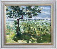 Impressionist Sommertag am Ufer Baum Schilfgürtel See Fluss Havel Brandenburg
