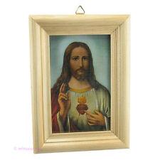 Heiligenbild - Bild mit Jesus Christus in Holzrahmen - Hl. Herz Jesu - heilig