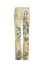 Roberto Cavalli cream denim jeans with flaming heart & tiger tattoo style print