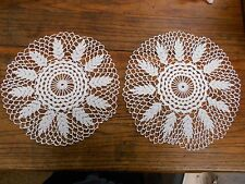 2 white Vintage Hand Crochet crocheted Doilies leaf pattern