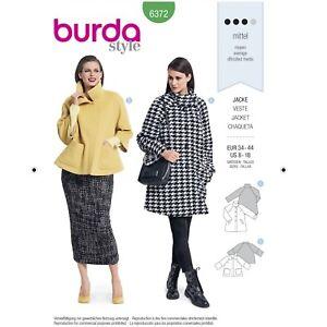 Burda 6372 SEWING PATTERN Misses' YOUTH Jacket Raglan Vintage Look Coats Sz 8-18