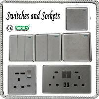 SCREW LESS 1/2/3 GANG DECORATIVE LIGHT SWITCHES & SOCKETS TEXTURED CHROME RANGE