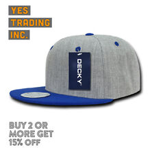 DECKY MENS CASUAL HAT SNAP BACK HATS GREY GRAY BASEBALL CAP RETRO FLAT BILL CAPS