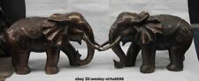 China Bronze Copper Fengshui Lucky Bat tree peony Flower Elephant Statue Pair