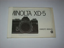 VINTAGE INSTRUCTIONS MANUAL COPY FOR THE MINOLTA XD-5 CAMERA -FREE SHIPPING