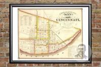 Vintage Cincinnati, OH Map 1841 - Historic Ohio Art - Old Victorian Industrial