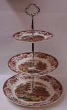 Barker Brothers OLDE ENGLAND 3 Tiered Tidbit BROWN MULTICOLORED