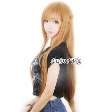 Sword Art Online Yuuki Asuna Light Brown 80CM Long Wavy Anime Cosplay Wig
