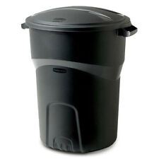 32 Gal. Rubbermaid Round Trash Can w/ Lid Outdoor Garbage Bin Storage Container
