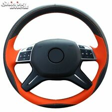 Black Suede Orange Black LeatherSteering Wheel Cover for Mercedes Benz GL350