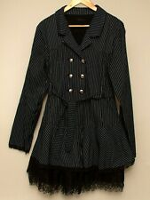 Criminal Damage Army Dress Black & White Pinstripe Lace Net Underskirt Emo Goth