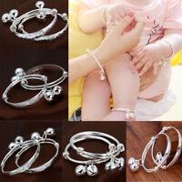 925 Silver Bells Bangle Baby Birthday Gift Adjustable Wistbands Bracelet Anklets