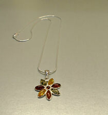 Mixed Amber Pear Shape Stones Flower Pendant set Sterling Silver on Snake Chain