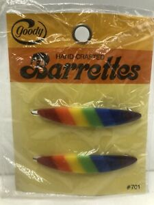 Vintage 1970s Goody Rainbow Barrettes Wire Clasp Pkg 2 Oval
