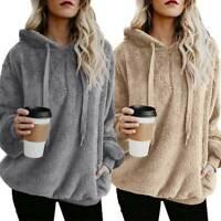 Women Fluffy Polar Fleece Sweatshirt Hoodies Jumper Hoody Top Pullover Plus Size