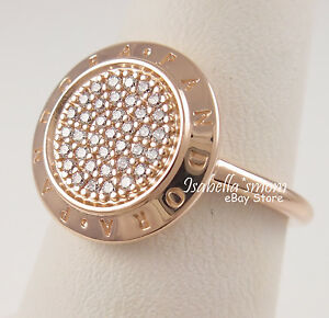 Authentic PANDORA SIGNATURE Silver ROSE GOLD Plated/Zirconia LOGO Ring 7/54 NEW