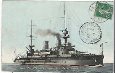 1913 French Navy Dreadnought Battleship Cruiser Gun Ship ST-LOUIS Postcard RPP