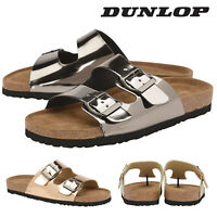 Dunlop Ladies Womens Slip On Sandals Double Twin Buckle Strap Shoes Sizes 3-8