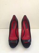 Charles Jourdan black leather peep toe heels size 7 1/2