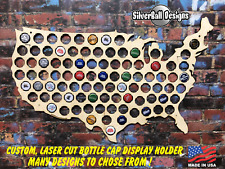 USA Map Custom Beer Pop Cap Holder Collection Display Gift Man Cave States