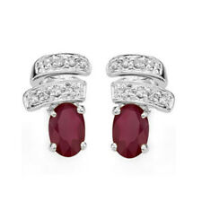 LOVELY 1.55 CT AFRICAN RUBY & DIAMOND 14KT SOLID WHITE GOLD EARRINGS STUD