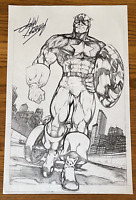 CAPTAIN AMERICA w MOTORCYCLE COMIC BOOK ART PAGE SIGNED PRINT JOHN HEBERT 11x17