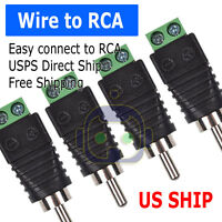 4 pcs Speaker Wire cable to Audio Male RCA Connector Adapter Jack Plug Bose M247
