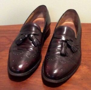 Johnston & Murphy Size 11.5 Tassel Wing Tip Loafers Shoes Mens Burgundy