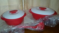 Tupperware Essentials Tortilla Keeper & OVAL SOUP SERVE  Poppy Red/White NEW