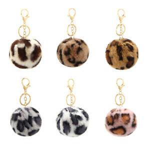 Cute Leopard Keychain Faux Fur Pom Poms Ball Key Ring Heart Shaped Retro