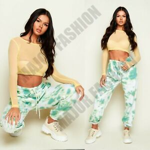 Ladies Womens Green Joggers Lounge Track Jogging Bottoms Casual Pants Sports 10
