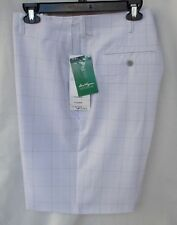 New Men's Ben Hogan Active Flex Waistband Golf Shorts Light Grey Plaid 40
