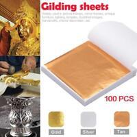 100pcs Gold/Silber Kupfer Blatt Folie Papier Vergoldung Kunst Handwerk DIY Dekor