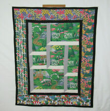"""VTG 1960s 70s QUILTED BLANKET FLOWERS GARDEN SCENES 56"""" by 45 1/2"""""""
