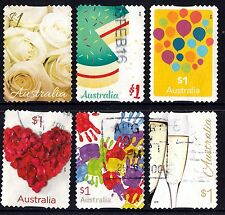 Australia 2016 Love To Celebrate Set of Stamps Postally Used Off Paper S/A