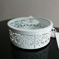 Round Enamel metal& Glass jewellery box dressing table organizer Trinket storage