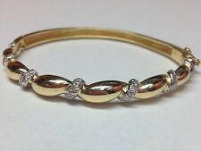 GORGEOUS SOLID 18K TWO TONE BANGLE BRACELET