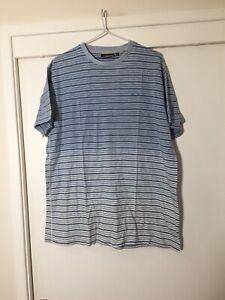 Pierre Cardin Paris Mens Blue Striped T Shirt Size XL Good Condition