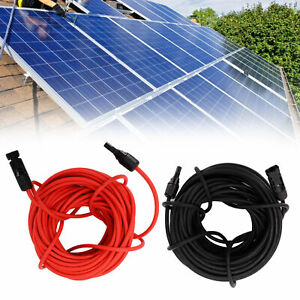 3-15m Solar PV Panel Cable Extension Cable Leads with connectors 6mm² Red+ Black