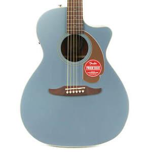 Fender Newporter Player Walnut Acoustic Electric - Ice Blue Satin Demo