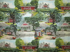VINTAGE COCA COLA COKE SCENIC SIGNS STORE BARN COTTON FABRIC BTHY