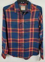 Falls Creek Mens Size Medium Blue Red Flannel Plaid Button Up Performance Shirt