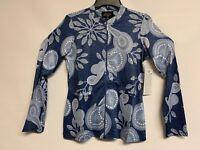 Tango Mango Jacket Dark Blue Abstract Designs All Sizes